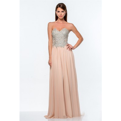 A Line Sweetheart Champagne Chiffon Sequin Beaded Long Evening Prom Dress