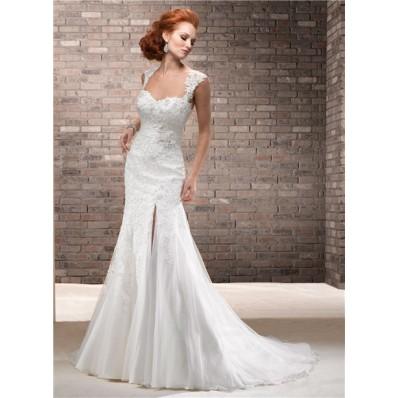 A Line Sweetheart Chiffon Lace Wedding Dress With Slit Detachable Straps Sash