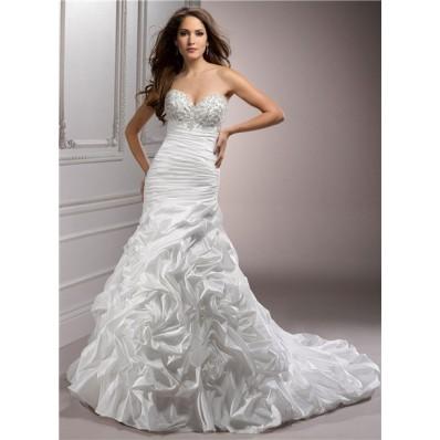 A Line Sweetheart Corset Back Beaded Taffeta Wedding Dress With Detachable Straps