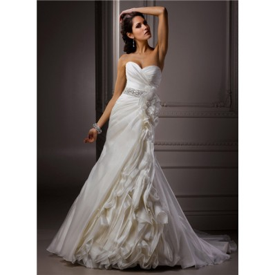 A Line Sweetheart Corset Back Ivory Structured Organza Wedding Dress With Flowers Crystals