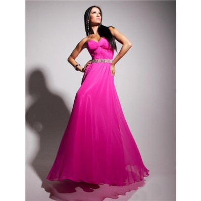 A Line Sweetheart Long Fuchsia Chiffon Party Prom Dress With Beading