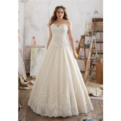 A Line Sweetheart Tulle Lace Plus Size Wedding Dress Corset Back