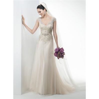 A Line V Neck Cap Sleeve Lace Applique Tulle Wedding Dress Crystals Belt