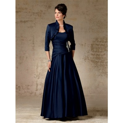 A Line Long Navy Blue Satin Mother Of The Bride Dress With