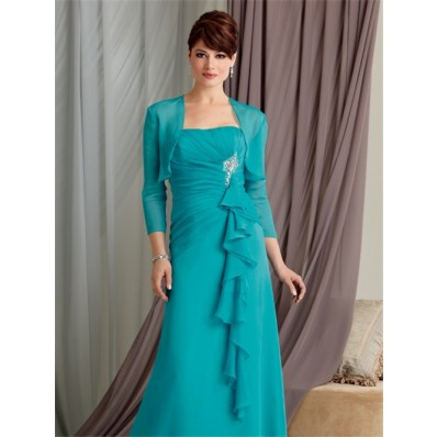 A line strapless floor length turquoise chiffon mother of the bride dress with jacket