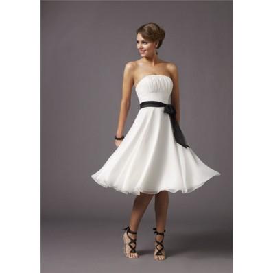 A line strapless knee length white chiffon bridesmaid dress with sash