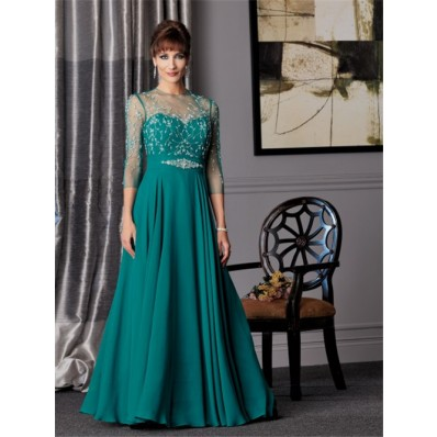A line sweetheart long jade chiffon Mother of the bride dress with sleeves