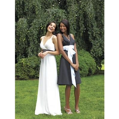 A line v neck knee length short charcoal grey chiffon bridesmaid dress with sash