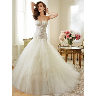 Asymmetrical Ball Gown Sweetheart Tulle Lace Beaded Corset Wedding Dress Detachable Straps