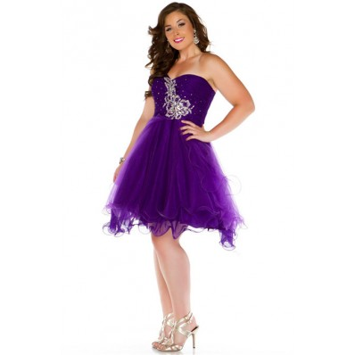Ball Gowm Strapless Short Purple Tulle Beading Plus Size Party Prom Dress