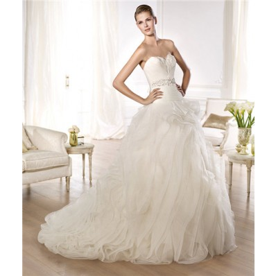 Ball Gown Sweetheart Feather Neckline Low Back Tulle Wedding Dress With Crystals Sash