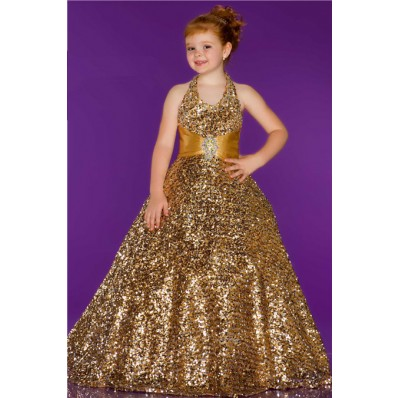 Ball Gown Halter Long Gold Sequin Little Girl Evening Prom Dress With Sash