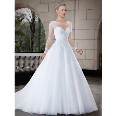 Ball Gown Illusion Neckline Sheer Back Long Sleeve Tulle Beaded Wedding Dress