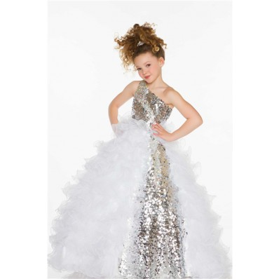 Ball Gown One Shoulder Long Silver Sequin White Organza