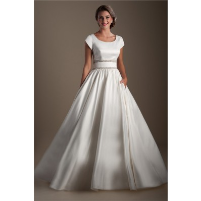 Ball Gown Scoop Neck Cap Sleeve Satin Beaded Modest Wedding Dress
