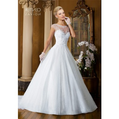 Ball Gown Sheer Neckline Cap Sleeve Tulle Beaded Wedding Dress Bow Belt