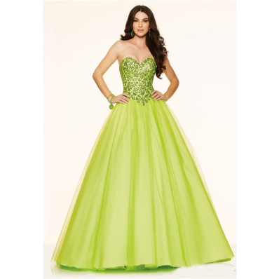 ball gown strapless corset back lime green tulle beaded