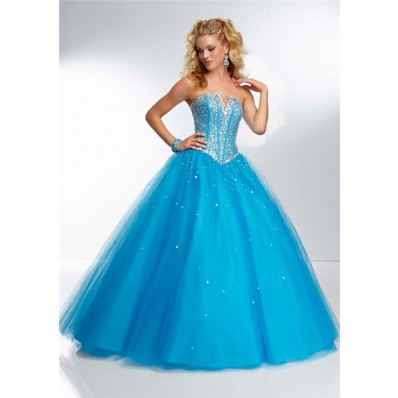 Ball Gown Strapless Corset Back Long Blue Tulle Beaded Prom Dress