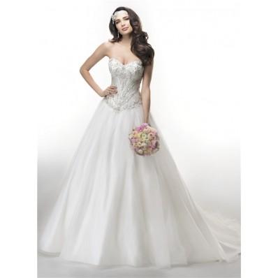 Ball Gown Strapless Drop Waist Embroidery Satin Organza Wedding Dress Corset Back