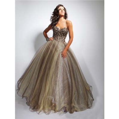 Ball Gown Sweetheart Long Chocolate Brown Tulle Evening Prom Dress With Beaded Crystals