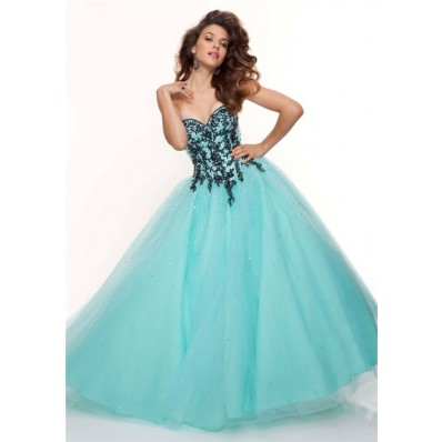 Ball Gown sweetheart floor length blue and black applique prom dress with sequins