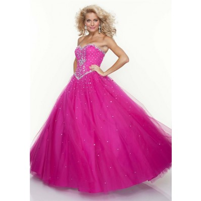 Ball Gown sweetheart floor length fuchsia tulle beaded prom dress with corset