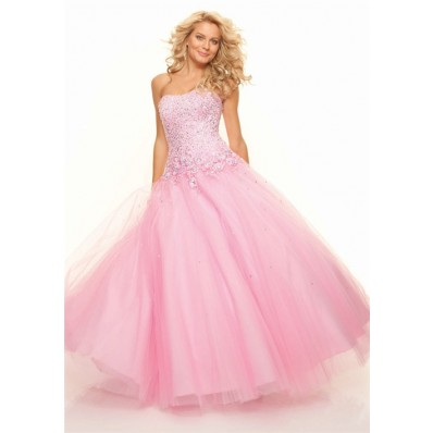Ball Gown sweetheart floor length pink sequins prom dress with corset