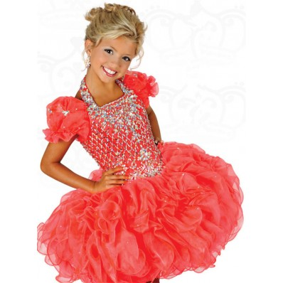 Ball Halter Short Coral Organza Ruffle Beaded Tutu Girl Party Prom Dress