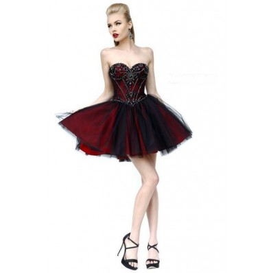 Ball Sweetheart Short Burgundy Satin Black Tulle Beading Cocktail Prom Dress