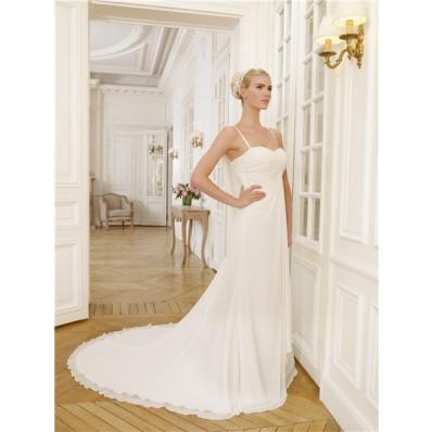 Beautiful Sweetheart Neckline Cowl Back Empire Waist Chiffon Lace Wedding Dress With Spaghetti Straps