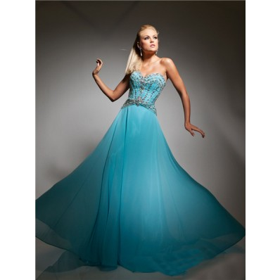 Best Sweetheart Long Sky Blue Chiffon Evening Prom Dress With Beading Crystals