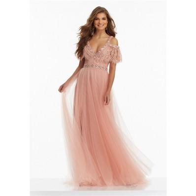 Boho V Neck Off The Shoulder Long Rose Tulle Lace Prom Dress