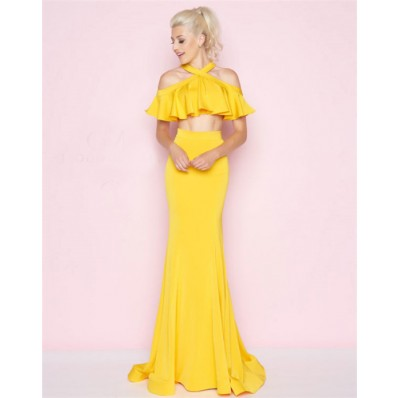 Charming Cold Shoulder Lemon Yellow Ruffle Two Piece Prom Dress