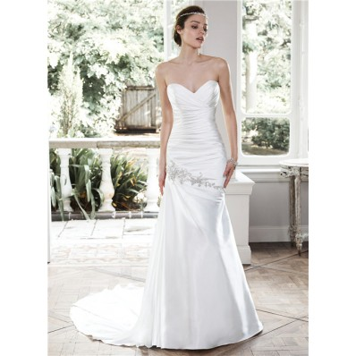 Charming Mermaid Strapless Ruched Satin Corset Wedding Dress With Draping