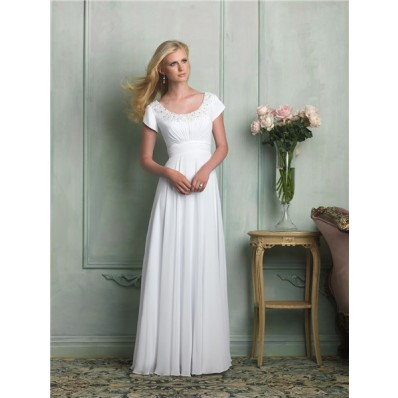 Classic A Line Scoop Neck Cap Sleeve Beaded Chiffon Wedding Dress Empire Waist