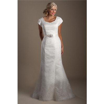 Classic Mermaid Cap Sleeve Lace Modest Wedding Dress With Crystals Sash