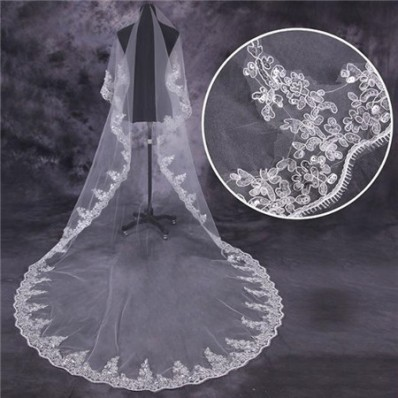 Classic One Tier Tulle Lace Long Cathedral Wedding Bride Veil With Sequins