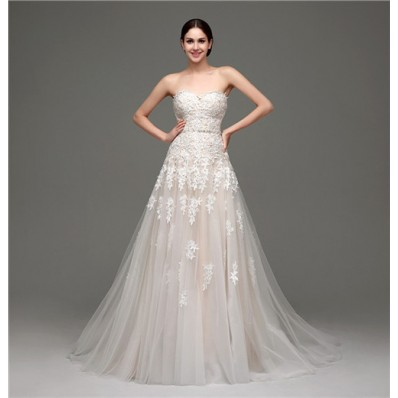 Classy A Line Strapless Champagne Satin Ivory Lace Wedding Dress Corset Back