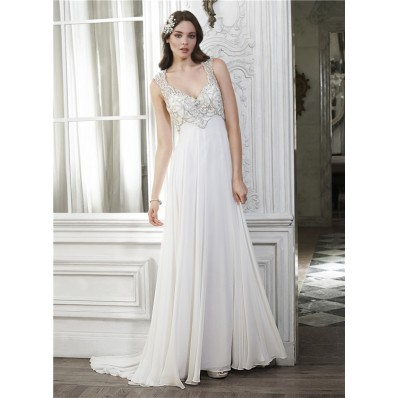 Classy Sheath V Neck Open Back Chiffon Beaded Destination Wedding Dress