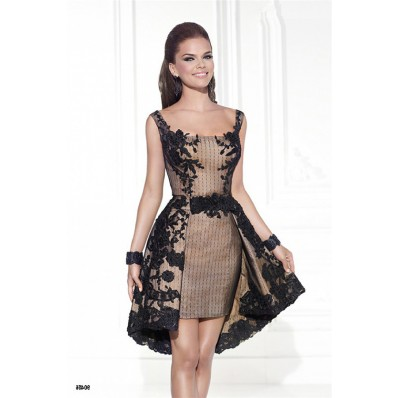 Cute Square Neck High Low Hem Black Embroidery Party Prom Dress