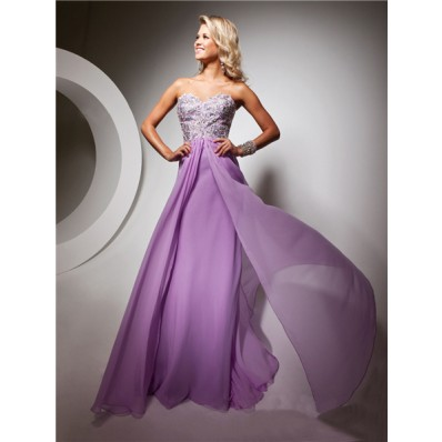 Cute Sweetheart Floor Length Lilac Chiffon Prom Dress With Beading