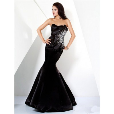 Designer Mermaid Strapless Long Black Satin Beaded Evening Wear Dress