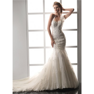 Designer Mermaid Sweetheart Halter Beaded Lace Wedding Dress With Detachable Straps