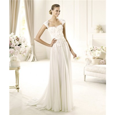 Designer Sheath Cap Sleeve Open Back Chiffon Beaded Lace Wedding Dress