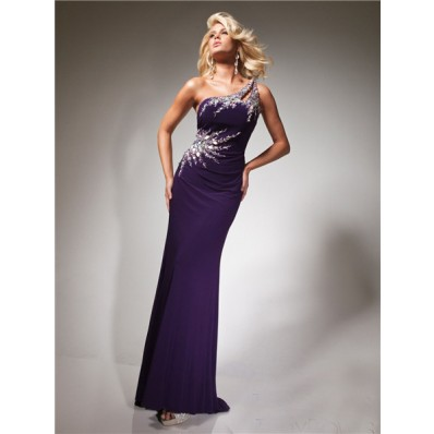 Designer Sheath One Shoulder Purple Chiffon Prom Dress With Beading Crystals