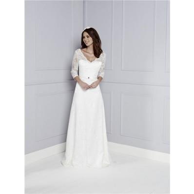 Destination Sheath V Neck And Back Long Sleeve Lace Vintage Wedding Dress With Belt Buttons