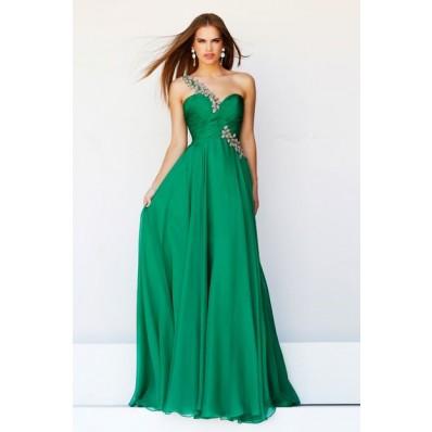 Elegant A Line One Shoulder Long Emerald Green Chiffon