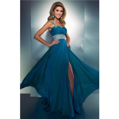 Elegant A Line One Shoulder Long Teal Blue Chiffon Beaded Prom Dress With Slit
