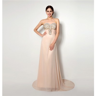 Elegant A Line Strapless Long Light Peach Chiffon Beaded Prom Dress