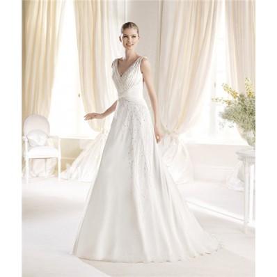 Elegant A Line V Neck Chiffon Beaded Wedding Dress With Ruched Sash